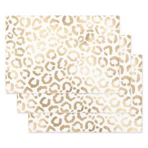 Elegant Gold White Leopard Cheetah Animal Print Wrapping Paper Sheets