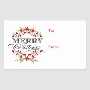 Elegant Holly Christmas Typography Gift Tags