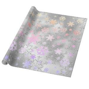 Elegant Holographic Christmas Snowflake Pattern Wrapping Paper