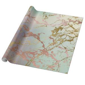 Elegant Marble | Copper Sage Mint Green Rose Gold Wrapping Paper