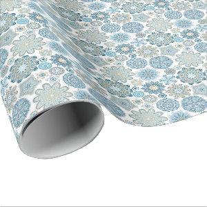 Elegant Modern Blue Flower Snow Flakes Pattern Wrapping Paper