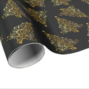 Elegant modern Christmas tree pattern black gold Wrapping Paper