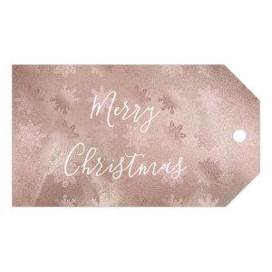 Elegant modern copper rose gold marble snowflakes gift tags