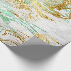 Elegant modern gold green white marble look wrapping paper