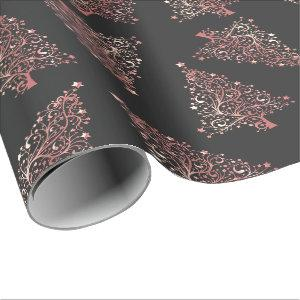 Elegant modern rose gold Christmas tree pattern Wrapping Paper