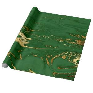 Elegant modern stylish gold & green marble look wrapping paper