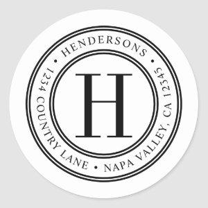 Elegant Monogram | Create Your Own Return Address Classic Round Sticker