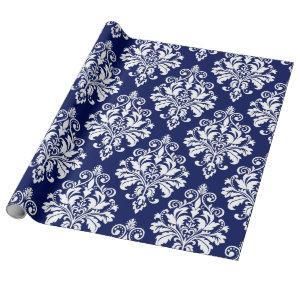 Elegant Navy Blue and White Damask Pattern Wrapping Paper