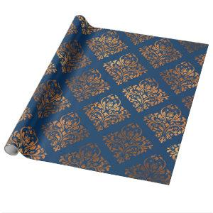Elegant Navy Blue Copper Gold Damask Pattern Wrapping Paper