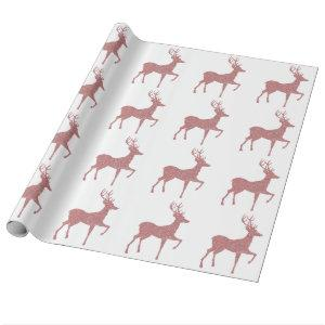 Elegant Pink Rose Gold Glitter Holiday Reindeer Wrapping Paper