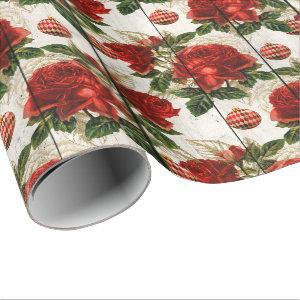 Elegant pretty red Christmas floral pattern Wrapping Paper