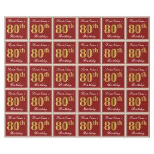 Elegant, Red, Faux Gold 80th Birthday; Custom Name Wrapping Paper