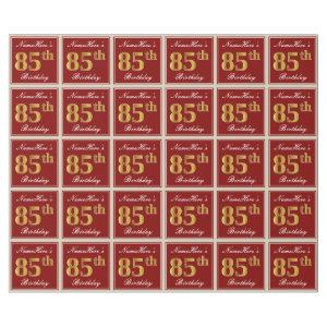 Elegant, Red, Faux Gold 85th Birthday; Custom Name Wrapping Paper