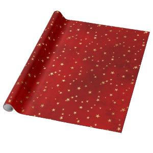 Elegant red & gold Christmas star pattern Wrapping Paper