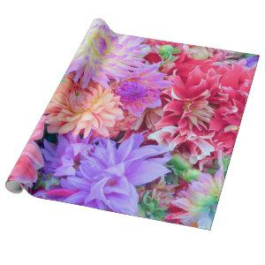 Elegant Red Pink Purple Orange Flowers Bouquet | Wrapping Paper