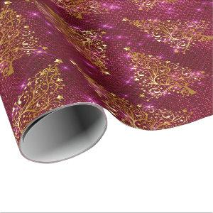Elegant Rose Gold Glitter Christmas Tree Pattern Wrapping Paper