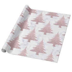 Elegant Rose Gold Glitter &  Marble Christmas Tree Wrapping Paper