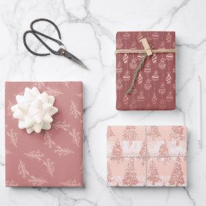 Elegant Rose Gold Glitter Pink Christmas Trio Gift Wrapping Paper Sheets