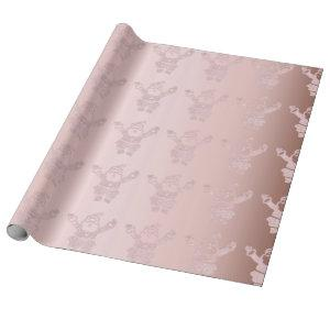 Elegant Rose Gold Glitter Santa Claus Pattern Wrapping Paper