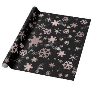 Elegant Rose Gold & Marble Christmas Snowflakes Wrapping Paper
