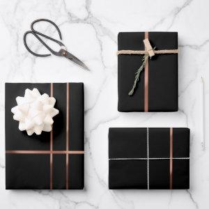 Elegant Rose gold stripes Wrapping Pape  Sheets