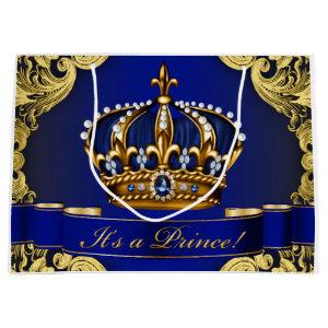 Elegant Royal Blue and Gold Prince Baby Shower Large Gift Bag