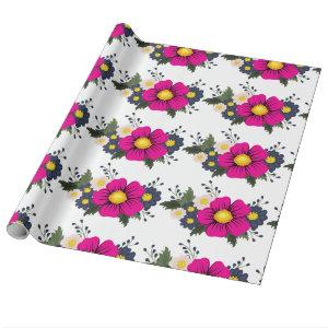 Elegant Rustic Floral Navy Burgundy Marsala Red Wrapping Paper