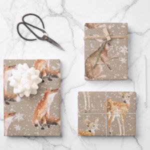 Elegant Rustic Kraft Paper Snowy Winter Animals