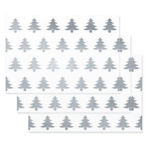 Elegant Silver White Christmas Trees Foil Wrapping Paper Sheets