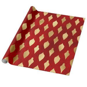 Elegant stylish red & gold Christmas pattern Wrapping Paper