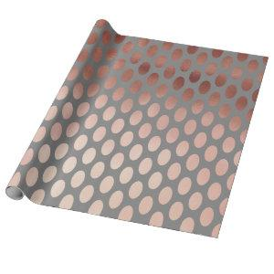 elegant stylish rose gold foil polka dots pattern wrapping paper