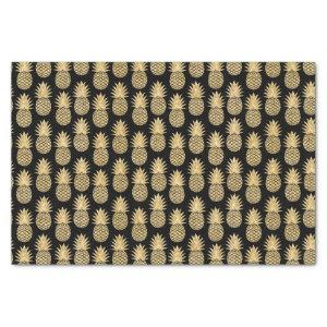 Elegant Tropical Black and Gold Pineapple Pattern Tissue Paper