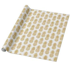 Elegant Tropical White Gold Pineapple Pattern Wrapping Paper
