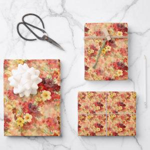 Elegant Vintage Floral Bouquet Pattern Flat Wrapping Paper Sheets