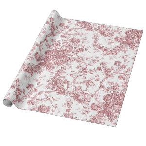 Elegant Vintage French Engraved Floral Toile-Blue Wrapping Paper