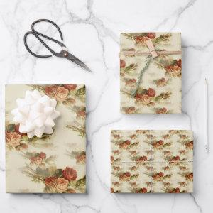 Elegant Vintage Victorian Rose Floral Pattern Wrapping Paper Sheets