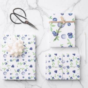 Elegant Watercolor Blueberry Wrapping Paper Sheets