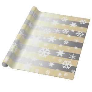 Elegant White & Silver Christmas Snowflake Pattern Wrapping Paper