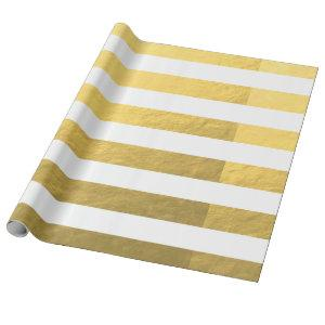 Elegant White Stripes Gold Foil Printed Wrapping Paper