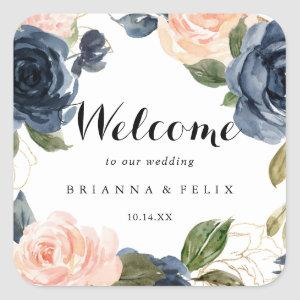 Elegant Winter Floral Calligraphy Wedding Welcome Square Sticker