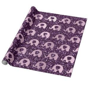 Elephant Baby Plum Violet Pink Glitter Spark Wrapping Paper