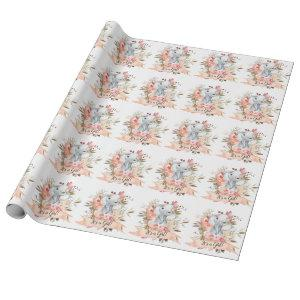 Elephant Baby Shower Boho Chic Coral Watercolor Wrapping Paper