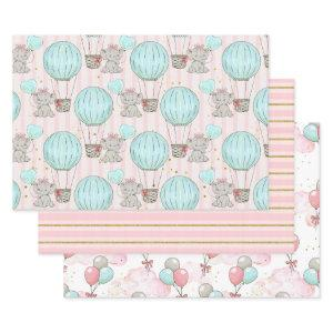 Elephant Baby Shower Pink Grey Blue Girl  Sheets