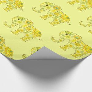 Elephant Flowers Yellow Wrapping Paper