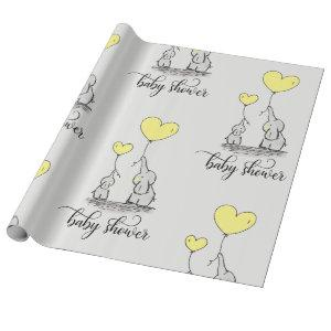 Elephant Mommy & Baby Shower Grey Yellow Wrapping Paper