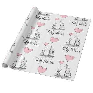 Elephant Mommy & Baby Shower Pink Grey White Girl Wrapping Paper