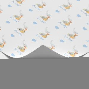 Elephant Wrapping Paper (Blue Personalized) Stork