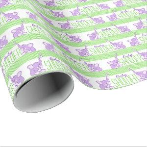 Elephants baby shower green purple birthday wrap wrapping paper