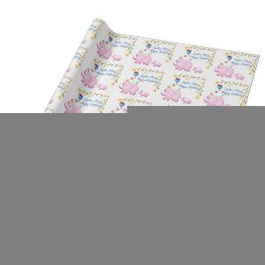 Elephants, Sheep & Bird Animal Tower Wrapping Paper