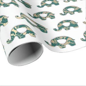 Elephants White Oriental Teal Champaigne Gold Wrapping Paper